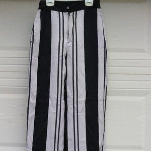 Zara Black and white striped straight leg pants